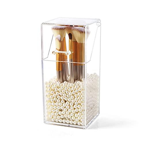 Kosmetik Organiser Pinsel Aufbewahrung mit Deckel Transparent Make Up Organizer zum Aufbewahren von Schminke für Make-up Pinsel mit kostenlosen weißen Perlen (9 x 9 x 21cm)