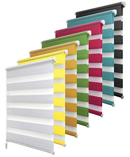 Garduna Doppelrollo Klemmfix ohne Bohren - 60 x 150 cm Gelbe Limone - Duo-Fenster-Rollo mit Klemmträger