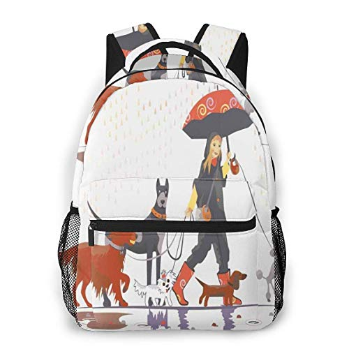 Lawenp School Backpacks Young Modern Girl Taking Pack of Dog for A Walk in The Rain Fun Joyful Times Artsy Print for Teen Girls&Boys 16 Inch Student Bookbags Laptop Casual Rucksack