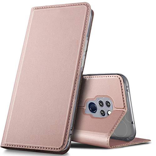 Verco Handyhülle für Mate 20, Premium Handy Flip Cover für Huawei Mate 20 Hülle [integr. Magnet] Book Hülle PU Leder Tasche, Rosegold