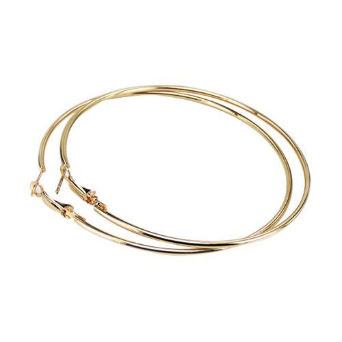 Tinksky Creolen Runde Große Damen Unisex Ohrringe Schmuck Creolen Ohrringe 10 CM (Gold)