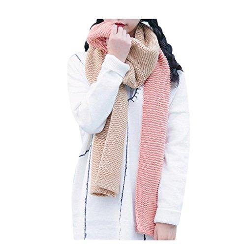 Koly_Adatti a donne rappezzatura sciarpa motivo a righe (Rosa)