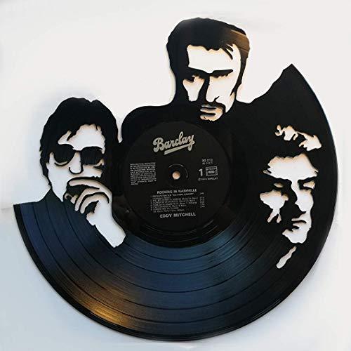 horloge murale, déco miroir vintage disque vinyle découpé 33T 100% fait main modèle vieilles canailles, johnny halliday, jacques dutronc, eddy mitchell, rock, musique