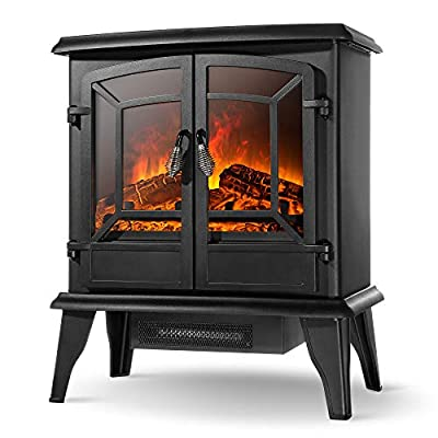"""Della 20"""" Freestanding Portable Electric Fireplace Stove Heater Infrared Quartz Heat Log Flame Realistic Flame Effect 1400W - CSA Certified - Overheating Safety Protection, Black"""