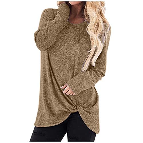 Plain Sweatshirt for Women Crewneck Long Sleeve Hipster Pullover Fall Loose fit Lightweight Blouse Top Shirts (1-Khaki, XL)