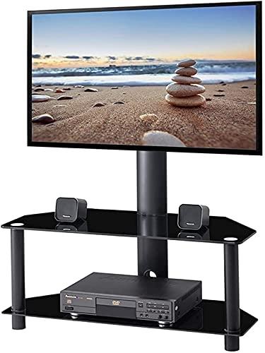 BNFD Floor TV Stand Mount Bracket Tempered Glass Shelves for Media New Plasma TVs Height Swivel Adjustable