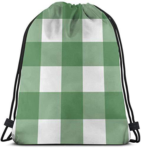 KINGAM Mochilas Buffalo Check Gym Bag para mujeres y hombres mochila con cordón