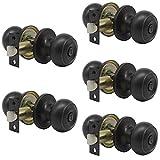 Probrico Oil Rubbed Bronze Door Knobs Privacy Bed or Bath Door Handles Keyless Handle Lockset 5 Pack