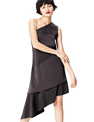 Amazon-Marke: find. Damen Midi-Kleid mit asymmetrischer Schulterpartie, Grau (Slate), 34, Label: XS