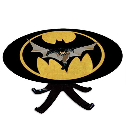 AngelSept-LJH Elastic Edged Fitted Table Cover,Batman Year One,Waterproof Round Tablecloth, Fits for Outdoor, Home, Patio, Kitchen and Dining Room, Tables Diameter Up to 42 inch