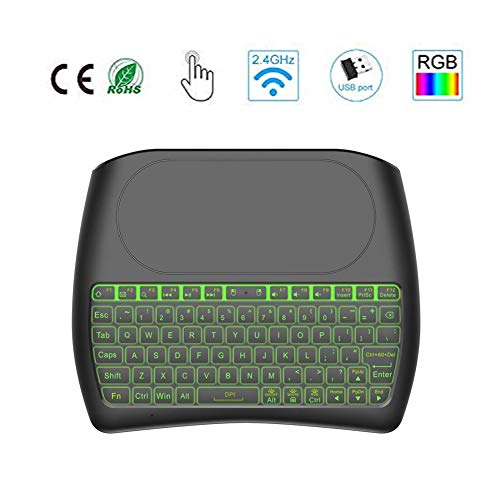 Teclado inalámbrico con Almohadilla táctil, 2.4GHz Mini Teclado Recargable Multimedia portátil de Mano para Android TV Box, HTPC, Smart TV, computadora portátil/PC(RGB retroiluminado)