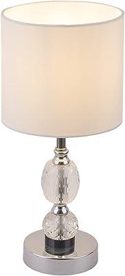 Globo BRONN Lampe de table Chromé/textile blanc/verre transparent