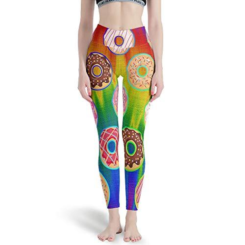 Gamoii Leggings deportivos para mujer, diseño de rosquillas, multicolor, impresión 3D, pantalones de yoga, cintura alta, pantalones de fitness blanco S