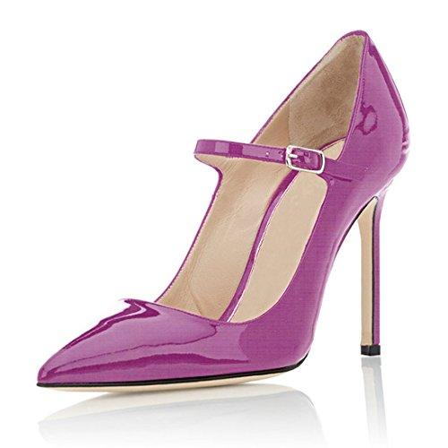elashe Damen Pumps Hochzeit Pumps Mary Jane | High Heel Pumps |10cm Party Event Shoes Lila Lack EU45
