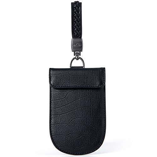 Multifunción Escudo de la Caja de la Llave del Coche - Doble Capa Cuero Universal Bolsa de protección de señal RFID - Negro