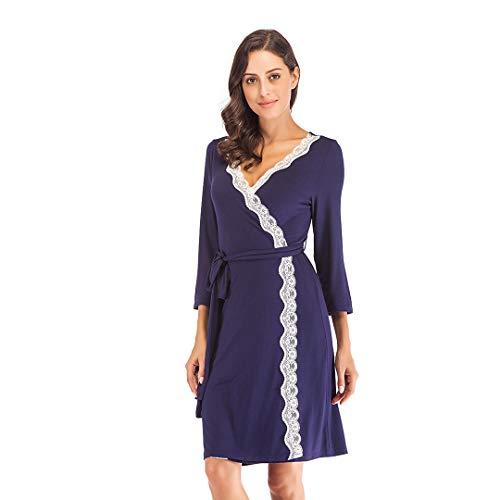 Mini Balabala Damen Baumwolle Bademantel Morgenmantel Leichte Modale Kimono Sommer Kurz mit für Spa Hotel Nachtwäsche M Navy Blau(spitzenbesatz)