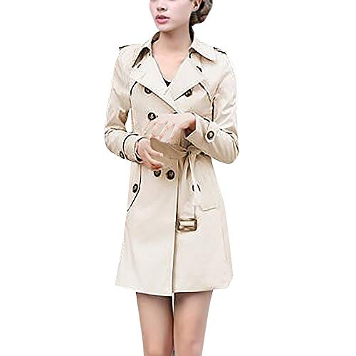 Damen Zweireiher Wollmantel Elegante Arbeits Anzug Jacke FRAUIT Frauen Knopf Stehkragen Einfarbig Zwei Taschen Elegant und Modisch Schlack Trenchcoat Mantel Wintermantel Outwear (M, U-Khaki)