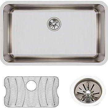 Elkay ELUH281610DBG Lustertone Classic Single Bowl Undermount Stainless Steel Sink Kit