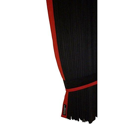 Mandys Truckershop LKW-Scheiben-Gardinen/Vorhänge aus Alcantara-Stoff in schwarz mit Lederkante rot passend für DAF XF 95/105/106