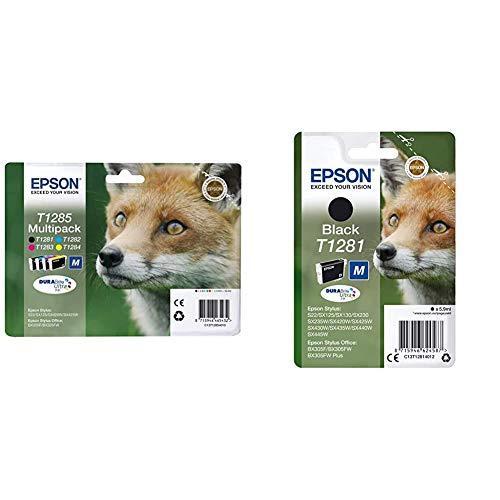 Epson C13T12854511 Multipack 4-colours T128 EasyMail, Ya disponible en Amazon Dash Replenishment + C13T12814012 Cartucho de tinta, negro, Ya disponible en Amazon Dash Replenishment