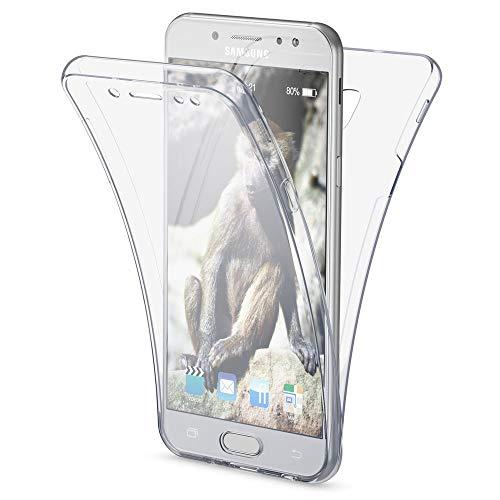 NALIA Funda 360 Grados Compatible con Samsung Galaxy J7 2017 (EU), Delantera Trasera Protectora Movil Silicona Carcasa Ultra-Fina Gel Transparente Doble Cubierta Bumper Cover Case, Color:Transparente