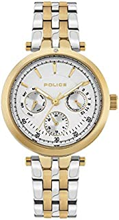 Police Sesma Analogue Gold Plated Case, Silver Dial And Silver And Gold Plated Watch For Women - PL 15890BYG-04MTG