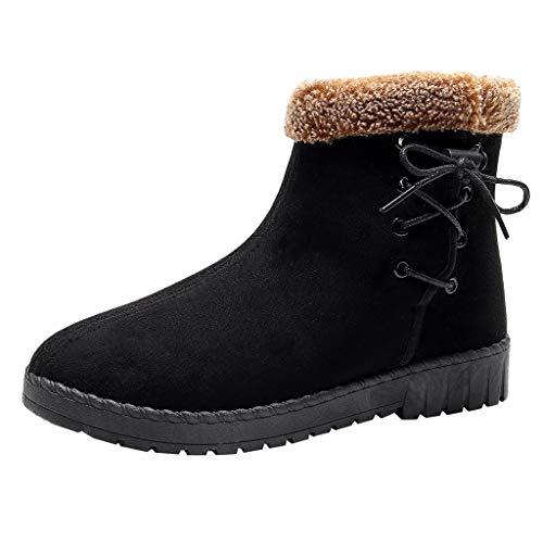 Andouy Damen Stiefeletten Faux Fur Müßiggänger Schuhe Bequeme Warme Indoor Outdoor Stiefel(38 EU,Schwarz)