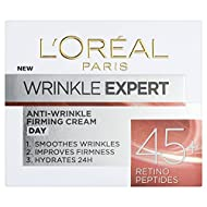 Anti wrinkle face cream specifically designed for 45-54 skin Formula with Retinol - peptides reduces the appearance of wrinkles Skin feels firmer Moisturiser hydrates for 24H