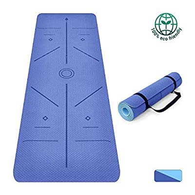 Oudort Non-Slip Yoga Mat with Alignment Lines, Eco-Friendly TPE Yoga Mat 1/4inch(6mm) Thick Exercise Mat Pilates Mat with Carrying Strap, Pilates, Gym and Floor (Blue)