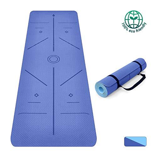 Oudort Yogamatte rutschfeste Hochwertige TPE Gymnastikmatte, umweltfreundlich Hilfslinien 6mm Fitnessmatte, ECO Yoga-Übungsmatte mit Tragegurt, Fitness-Trainingsmatte für Yoga, Pilates