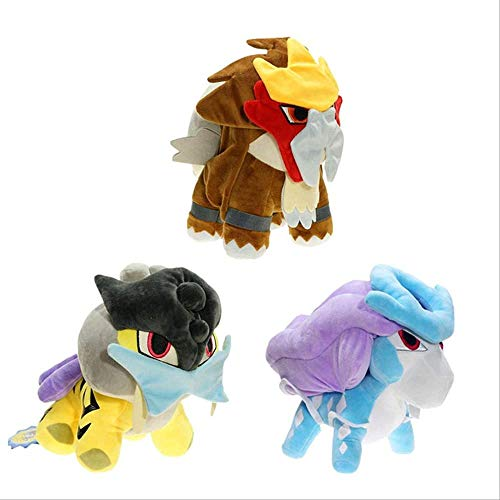 N-L 3pcs Plush Stuffed Animal Toy Q Version Three Sacred Entei Suicune Raikou Plush Doll for Children Gift 12 Inch