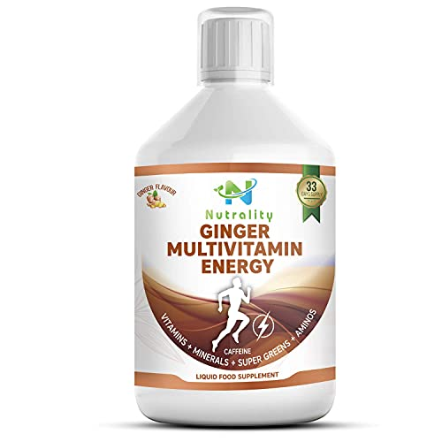 Nutrality Ginger Multivitamin Energy Booster, 500 mL Liquid Vitamin Supplement, Super Greens, Amino Acids, and Natural Caffeine, Supports Cardiovascular Health, Men and Women, 33 Day's Supply