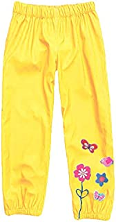 Wennikids Baby Girl Kid Waterproof Floral Outwear Raincoat Pant Small Yellow