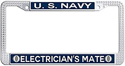 Nuoyizo US Navy Electrician's Mate White Glitter Rhinestones Car Tag Frame Retro Shining Crystal Waterproof Stainless Steel Metal License Plate Frame(1 pic, 12.25