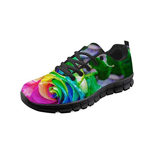 Shinelly Sportschoenen voor heren, kleurrijke bloemen, loopschoenen, sneakers, ademend, lichte trailloopschoenen