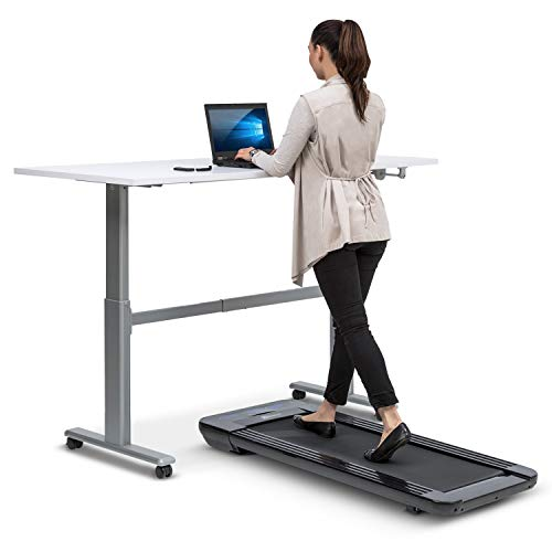Klarfit Workspace Go Light Laufband - Tischlaufband, Office Cardio, 350 Watt, Ultraflach, Slow Running 0,8-6 km/h, nur 25 kg, Fernbedienung, 36 x 100 cm Lauffläche, Anti-Rutsch-Oberfläche