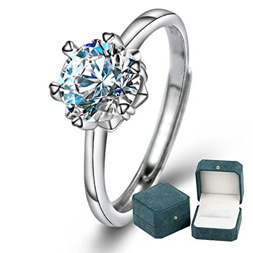 Anillo de compromiso de plata de ley 925 para mujer Corona clásica 6 puntas 1 quilate Moissanite Diamante Anillo ajustable Promesa de boda Joyería Caja de anillo de lujo