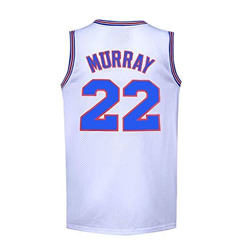 Mens Basketball Jerseys Movie 90S #22 Bill Murray Space Jam Shirts (White, X-Large)