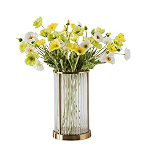 WYWY Artificial Poppy Flowers Bridal Wedding Bouquet Home Office Party Bouquet Vase Set Decoration Silk Flower Fake Flower (Color : Vertical Stripes vase+Flower)