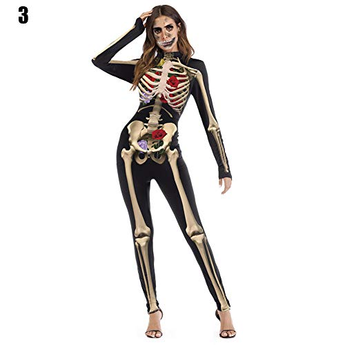 Mujer Disfraz Halloween Hueso Esqueleto Mono Cosplay Body Manga Larga - 3, S/M