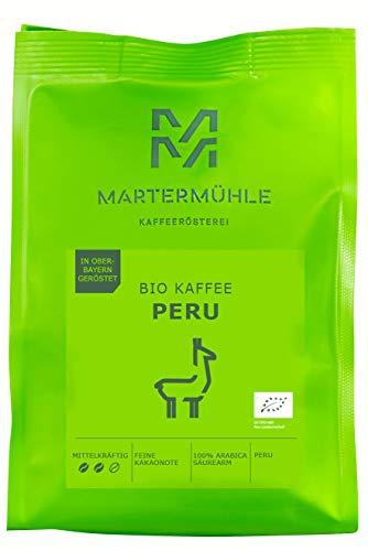 Martermühle I Bio Kaffee Peru I Bio Kaffee ganze Bohnen I Bio-Kaffeebohnen I Premium Kaffeebohnen I Kaffeebohnen aus Peru I geröstete Kaffeebohnen I Kaffee säurearm I 100% Arabica I 1kg