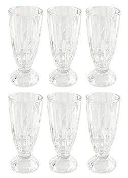 HOME-X Old-Fashioned Milkshake Glasses Soda Fountain Glasses Ice Cream Sundaes or Floats Set of 6 7 ¼  L x 3 1/8  D