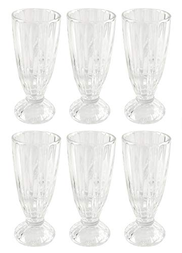 HOME-X Old-Fashioned Milkshake Glasses, Soda Fountain Glasses, Ice Cream Sundaes or Floats, Set of 6, 7 ¼