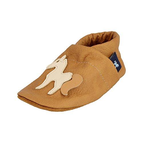 Pantau Leder Krabbelschuhe Lederpuschen Babyschuhe Lauflernschuhe mit Pferd, 100% Leder, 27 EU