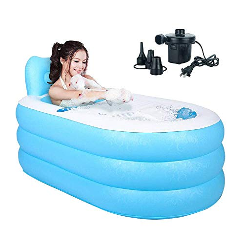 Sunny Rain Fashion Adult SPA Inflatable Bath Tub with Air Pump (Blue Large + Pump)