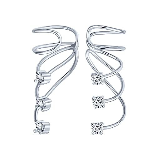 Cable Espiral Triple Minimalista Zirconio Cúbico Envoltura Del Manguito Escalador Rastreador Pendientes...