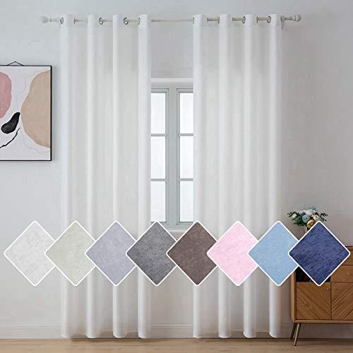 MIULEE Cortinas Super y Cómodas Deja Pasar la Luz Porteger Pravidad Visillo Modernos de Habitacion Dormitorio Juvenil Salon Decorativas para Casa Cuarto 2 Hojas 140x145cm Blanco