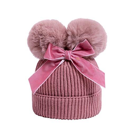Amosfun Kids Pom Pom Beanie Hat with Bow Winter Cap for Child Baby Boy Girl Outdoor Ski Warm Knitting Hat (Dark Pink)