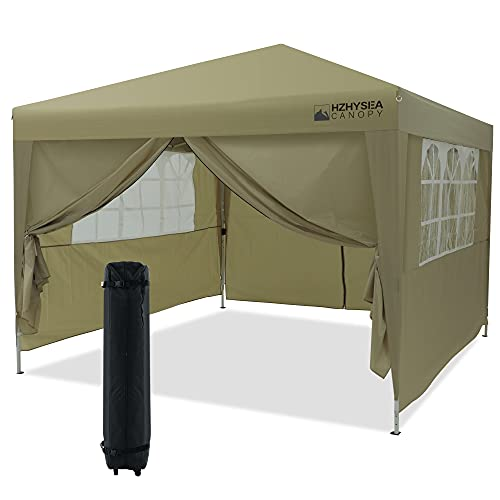 HZHYSEA 10'x10' Pop-up Canopy Tent Commercial Instant Canopy with Wheeled Bag and Sidewalls & Mesh Windows (Tan)