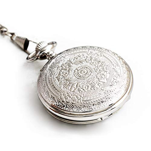 Reloj Bolsillo Ocio Grano Flor Plata, Reloj Bolsillo precisión Cuarzo clásico Acero Inoxidable Concha Unise (Relojes mecánicos para Hombres)